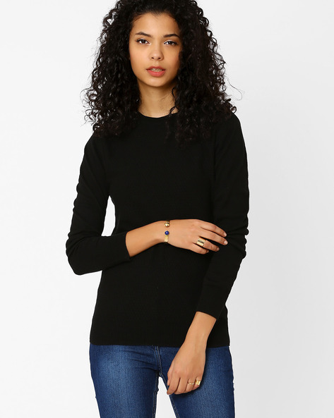 Long Sleeve Pullover By Annabelle By Pantaloons ( Black )