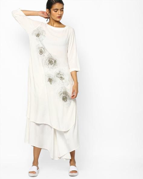 Printed Straight Kurta With Pockets By Project Eve IW Casual ( Black )