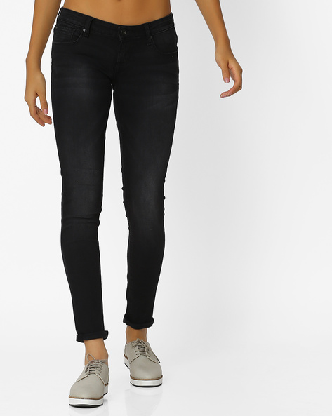 Lightly Washed Skinny Fit Jeans By Lee ( Black )