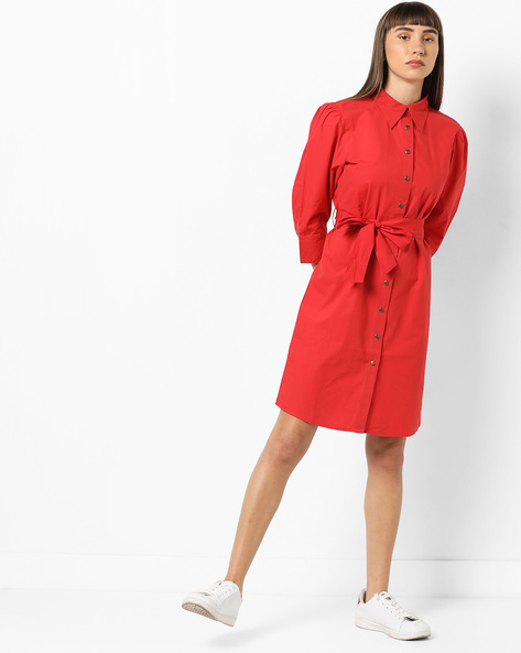 Shirt Dress With Fabric Belt By AJIO ( Red )