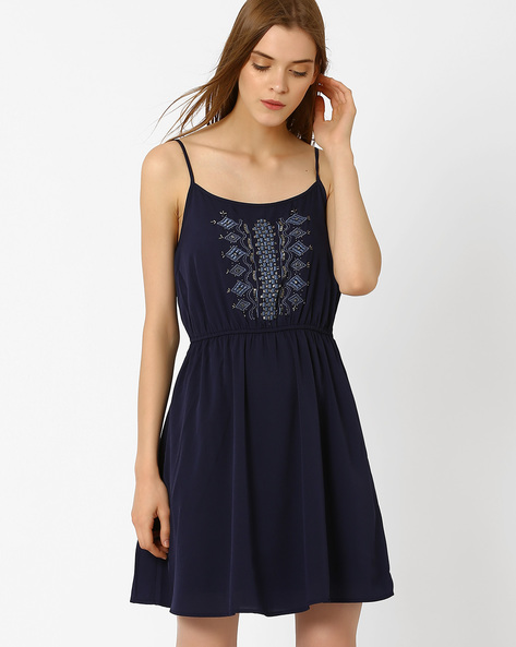 Strappy Fit & Flare Dress By Oxolloxo ( Blue )