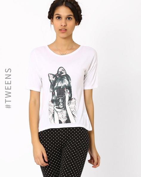 Graphic Print T-shirt By AJIO ( White ) - 460002796004