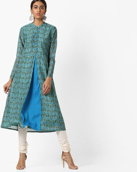 Floral Print Kurta With Mandarin Collar By AJIO ( Aqua )