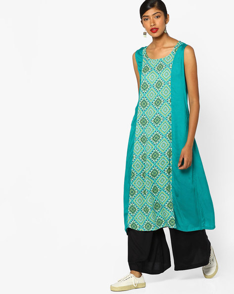 Printed Kurta With Palazzo Pants By AJIO ( Teal )