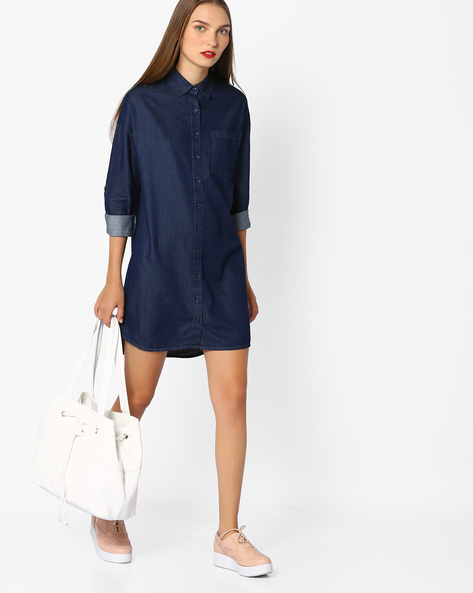 Denim Shirt With Drop Shoulders By AJIO ( Blue )