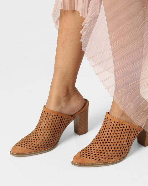 Chunky Heel Sandals With Laser Cut-Outs By AJIO ( Tan )
