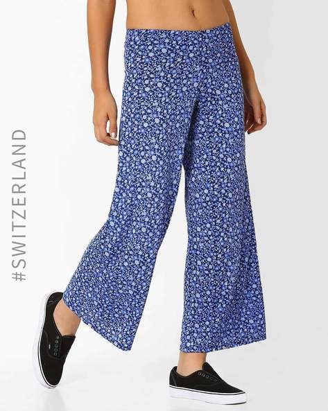 Floral Print Wide-Leg Trousers By TALLY WEiJL ( Blue )