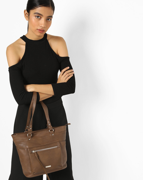 Textured Tote Bag With Zip Pocket By Lino Perros ( Brown )