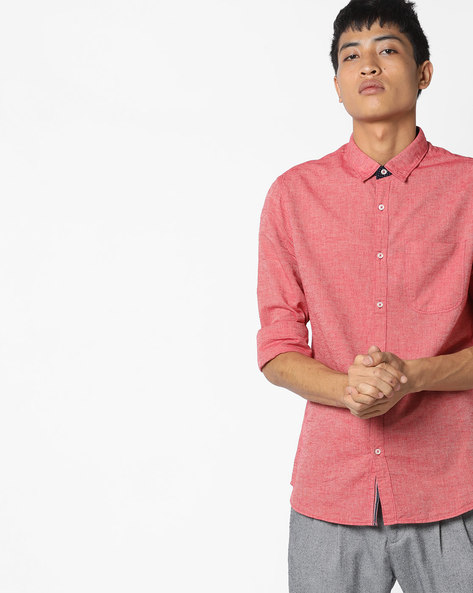 Slim Fit Cotton Shirt With Patch Pocket By AJIO ( Red )