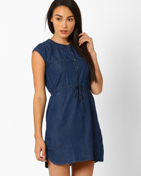 Denim Dress With Drawstring Fastening By WRANGLER ( Blue )
