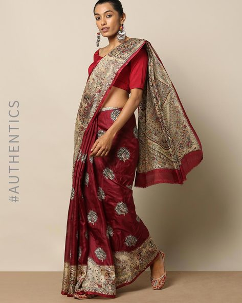 Madhubani Print Pure Silk Saree By Rudrakaashe-MSU ( Maroon )