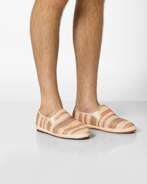Textured Espadrilles With Elasticated Gussets By AJIO ( Beige )