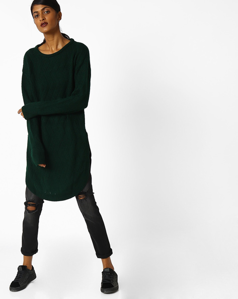 Woollen Kurta With Curved Hemline By FUSION ( Green )