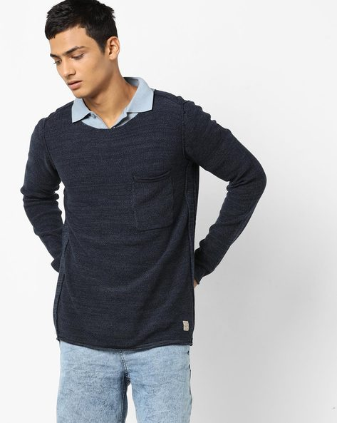 Pullover With Patch Pocket By Jack & Jones ( Blue )