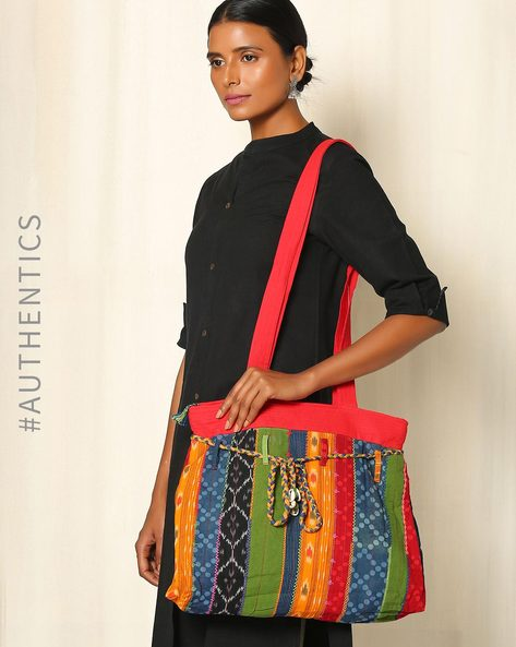 Lambani Embroidered Cotton Tote Bag By Indie Picks ( Multi )
