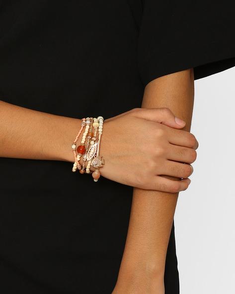 Beaded Charm Bracelet Set By BLUEBERRY ( Beige )