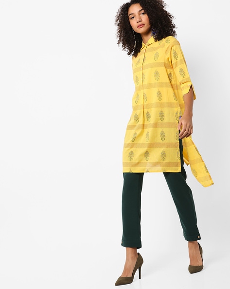 High-Low Shirt Kurta With Tassels By AJIO ( Yellow )