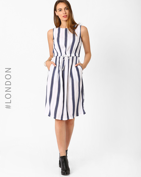 Striped Fit & Flare Beach Dress By Marks & Spencer ( Blue )