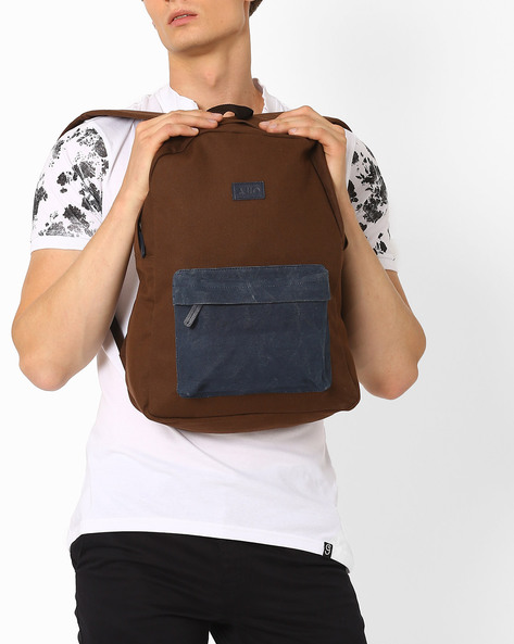 Canvas Backpack With Adjustable Back Straps By AJIO ( Brown )