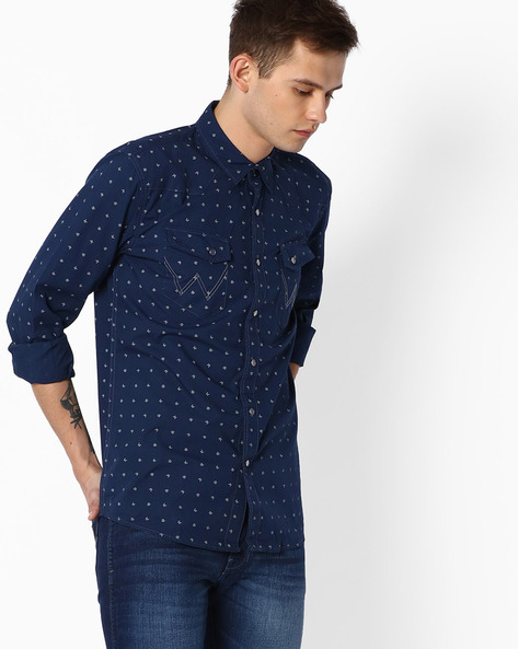 7 Icon Printed Regular Fit Shirt By WRANGLER ( Navy )