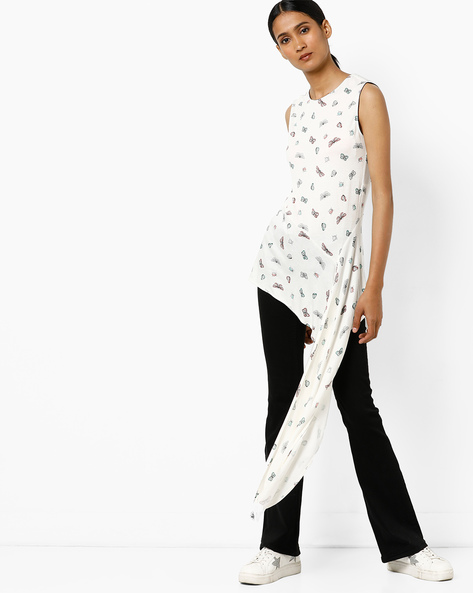 Printed Tunic With Extended Hem By AJIO ( Offwhite )