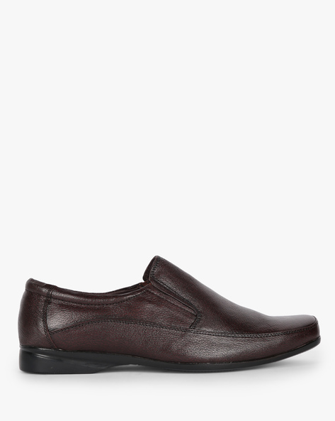 Textured Slip-On Formal Shoes By Buckle Up ( Brown )