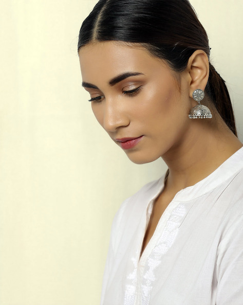 Oxidised Silver Floral Brass Jhumkas By Indie Picks ( Silver )