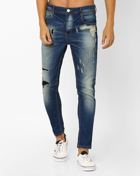 Distressed Slim Jeans By ADAMO LONDON ( Navyblue )