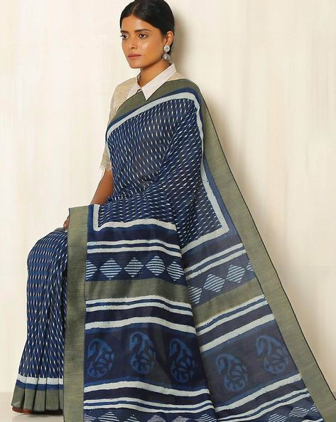 Dabu Handblock Print Indigo Chanderi Saree With Ghicha Border By Indie Picks ( Indigo ) - 460050659001