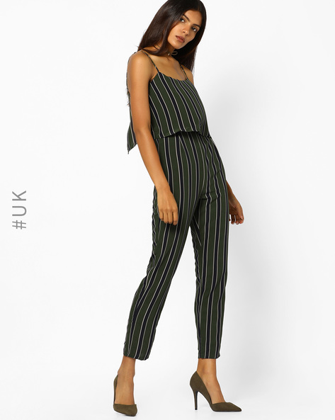 Striped Strappy Jumpsuit By INFLUENCE ( Olive )