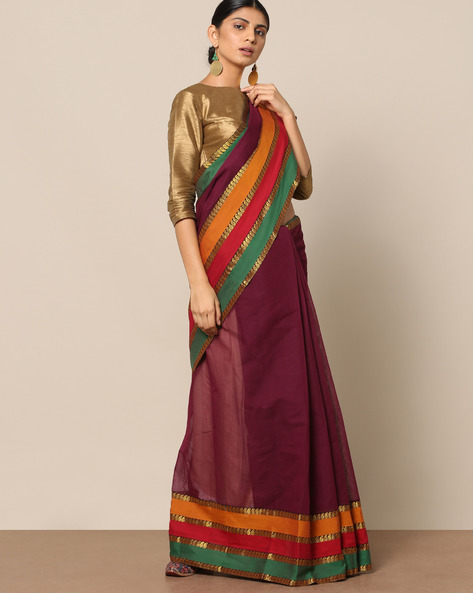 Cotton Saree With Contrast Striped Border By Indie Picks ( Purple ) - 460146754001