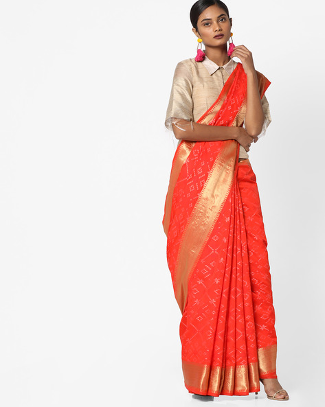Woven Printed Saree With Zari Border By Pihu ( Orange )