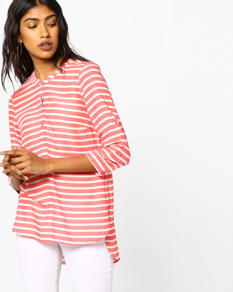 Striped High-Low Top By BOSSINI ( Coral )