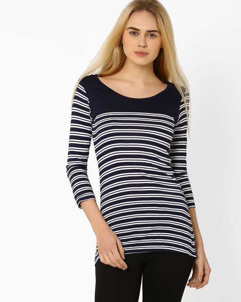 Striped Top By Annabelle By Pantaloons ( Navyblue )