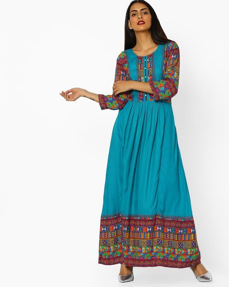 Pleated A-line Dress With Printed Panels By Shree ( Turquoise )