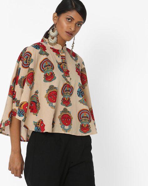 Printed Kaftan Top With Mandarin Collar By Desi Weaves ( Beige )