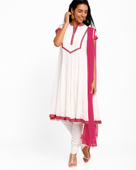 Flared Anarkali Churidar Kurta With Dupatta By AJIO ( White ) - 460001587002