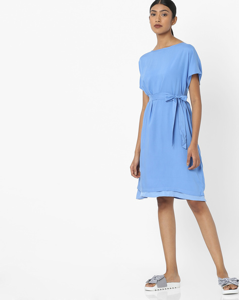 Knee-Length Dress With Waist Tie-Up By Tokyo Talkies ( Blue )