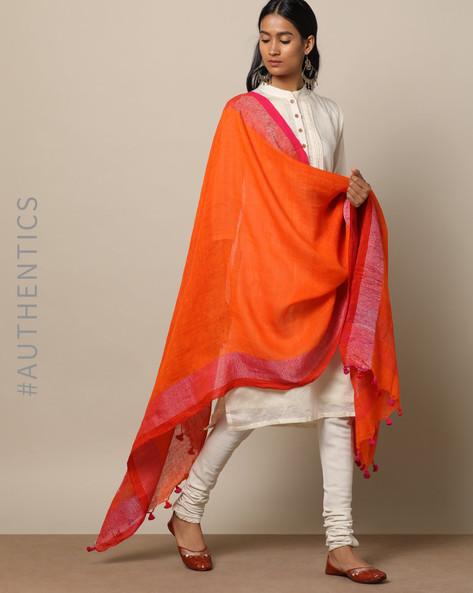 Handloom Linen Dupatta With Pom-Pom Detail By Indie Picks ( Orange )