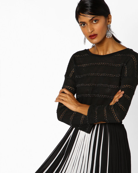 Panelled Top With Cut-Outs By DNMX ( Black )