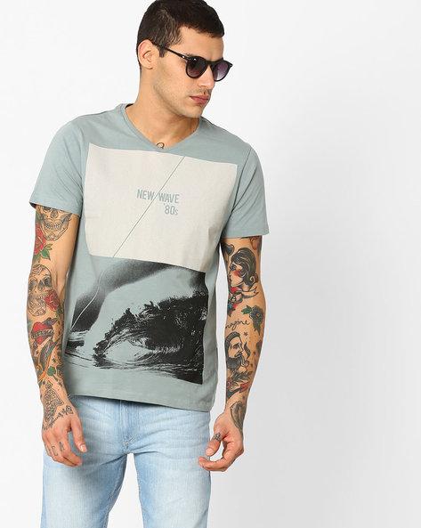 Graphic Print Slim Fit T-shirt By AJIO ( Green )