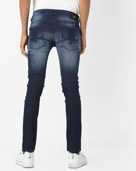 Mid-Rise Slim Fit Jeans With Whiskers By Pepe Jeans ( Blue )