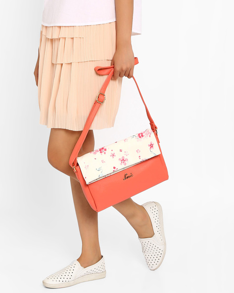 Sling Bag With Floral Print Flap By Lavie ( Coral )