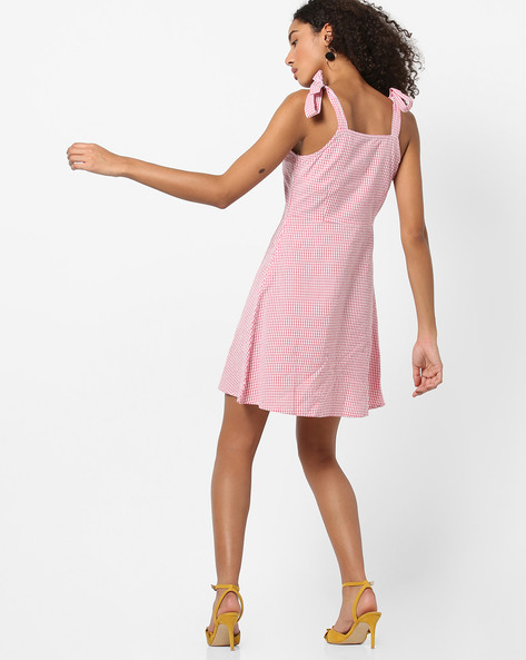 Checked A-line Dress With Strappy Sleeves By AJIO ( Red )