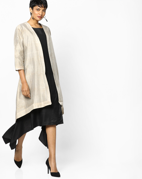 Striped Longline Jacket With Asymmetric Hem By PE IW Evening ( Offwhite )