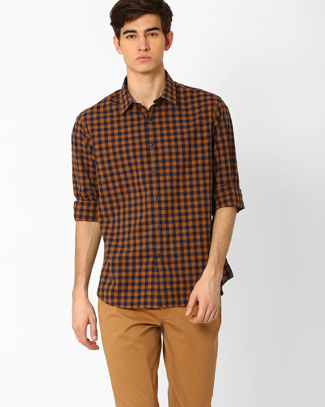 Checked Shirt With Patch Pocket By INDIAN TERRAIN ( Gold )