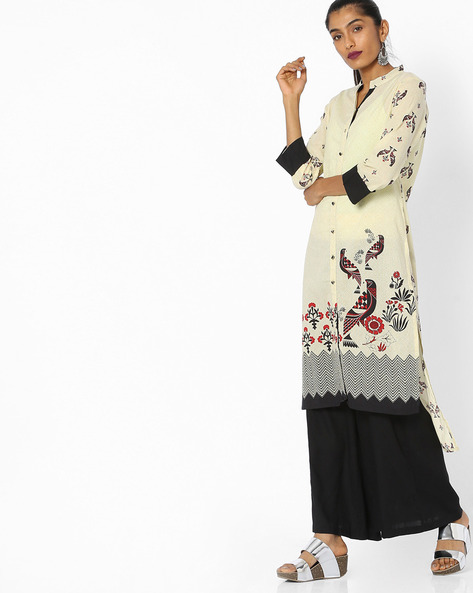 Printed High-Low Tunic With Button Placket By Indian Ink ( Ivory )