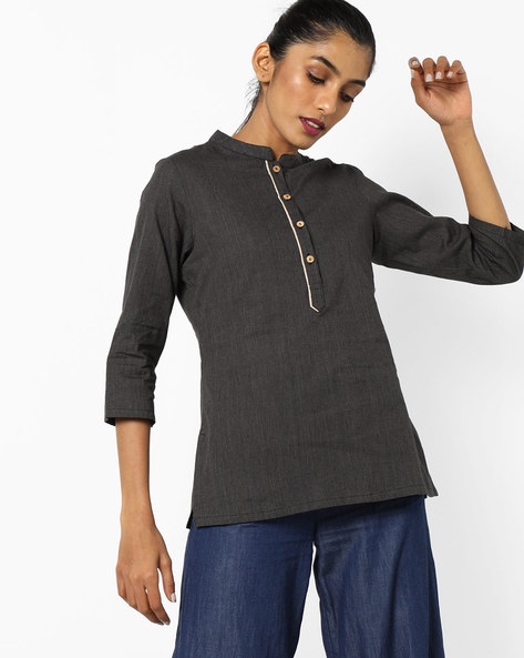Cotton Tunic With Side Slits By AJIO ( Black )