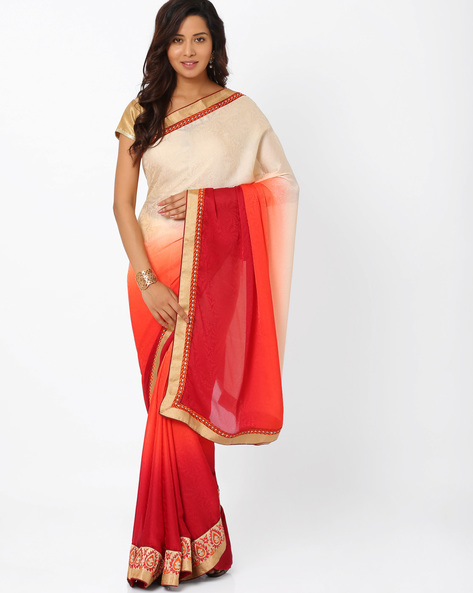 Embroidered Crepe Jacquard Ombre-Dyed Saree By Majestic Silk ( Red )