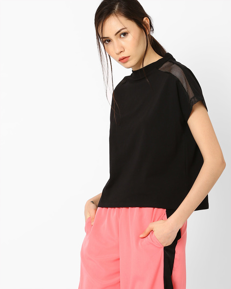 Boxy Top With Cap Sleeves By AJIO ( Black )